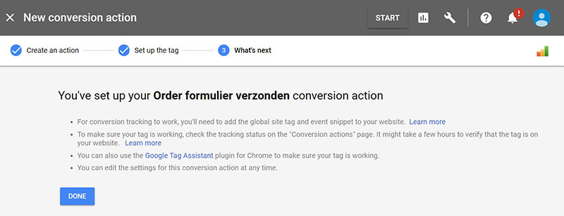 Step 5: Mission accomplished: In Adwords is de conversie ingesteld.